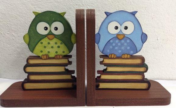 aparador de livros corujinhas porta livros