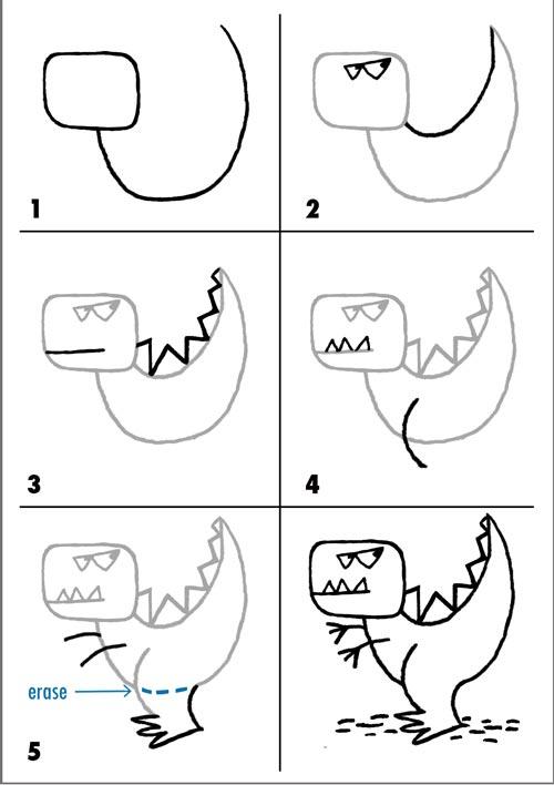 desenhos faceis de desenhar - dinossauro