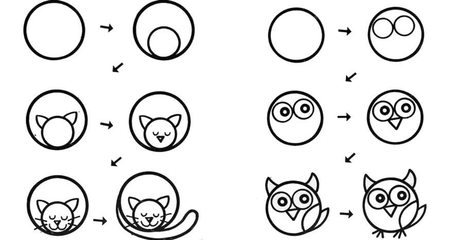 desenhos faceis de desenhar - gato e coruja