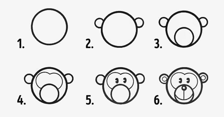desenhos faceis de desenhar - macaco