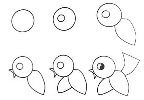 desenhos faceis de desenhar - passarinho