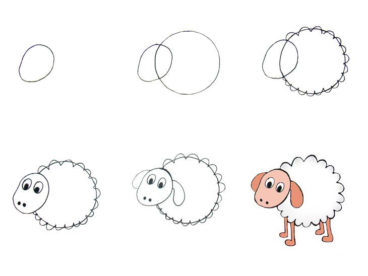 desenhos faceis de fazer - ovelha