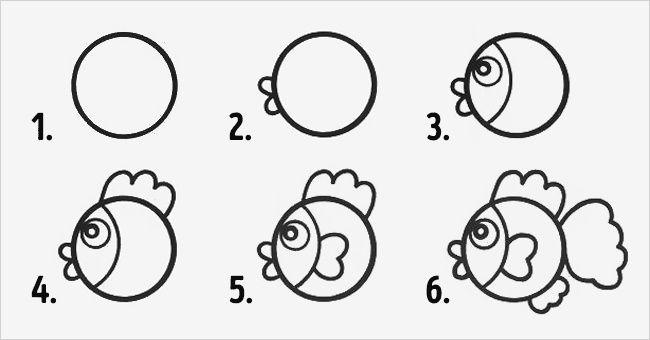 desenhos faceis de fazer - peixe
