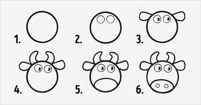 desenhos faceis de fazer - vaca