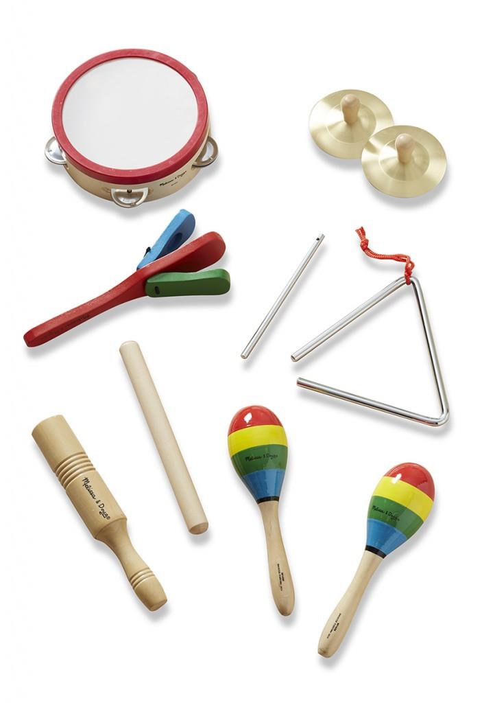 8 instrumentos musicais brinquedos de madeira