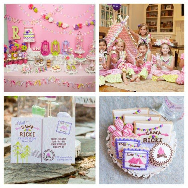 Tema-de-Festa-Infantil-Criativa-Acampamento-Pink