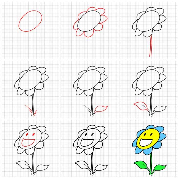 Desenhos Faceis De Fazer Flor Mamae Tagarela